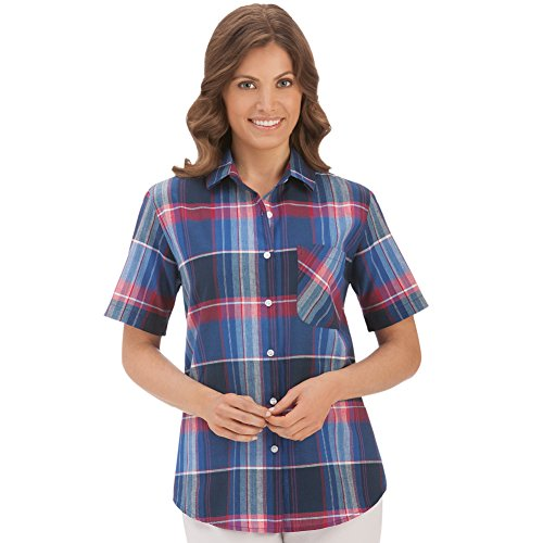 Women's Red, White and Blue Plaid Camp Shirt, X-Large