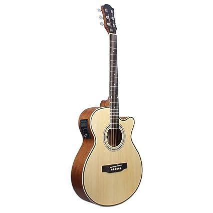 NUYI-4 Madera Color Todo sapele Guitarra eléctrica 40 Pulgadas ...