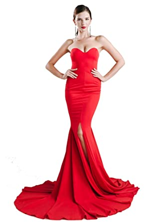 Missord Womens Strapless Bustier Sleeveless Mermaid Prom Gown Party Split Dress Red XS
