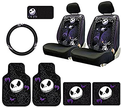 plasticolor 10 piece nightmare before christmas jack skellington bones designfloor mats seat covers steering - Nightmare Before Christmas Steering Wheel Cover