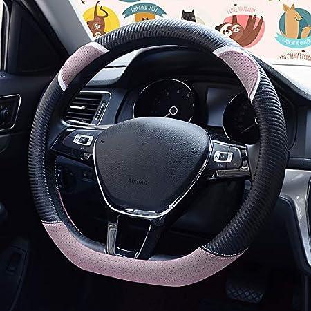HONCENMAX D Type Steering Wheel Cover Dark Pink Flat Bottom Car Steering Wheel Protector D Cut Shaped Diameter 38cm 15