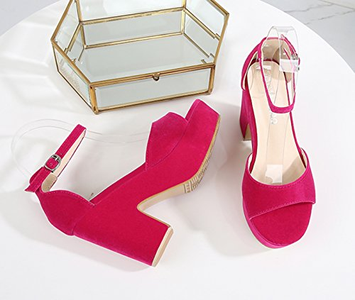 Middle heel Sandals Wedge toe Women's Open Solid CAMSSOO Color Fushia wxnUq1agOX