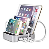MixMart 3-Port USB Charging Station Docks for Multiple Devices like iPhone/ iPad/ Universal Smart Phones and Tablets (Silver)