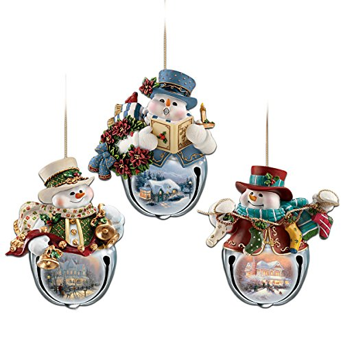 Kinkade Bradford Ornaments - Thomas Kinkade Snow-Bell Holidays Snowman Ornaments: Set Of Three by The Bradford Exchange