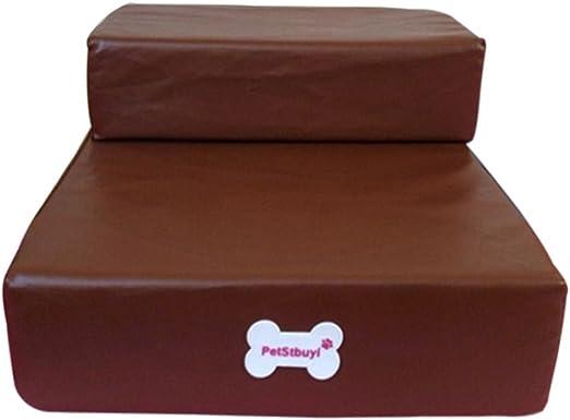 MiLong Escaleras plegables para mascotas, 2 peldaños, portátil, piel sintética, base acolchada antideslizante para perros y gatos: Amazon.es: Productos para mascotas