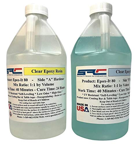 Epox-It 80 Clear Epoxy Resin for Coating Wood Table Tops Bar Top Resin Art - 2 Gallon Kit