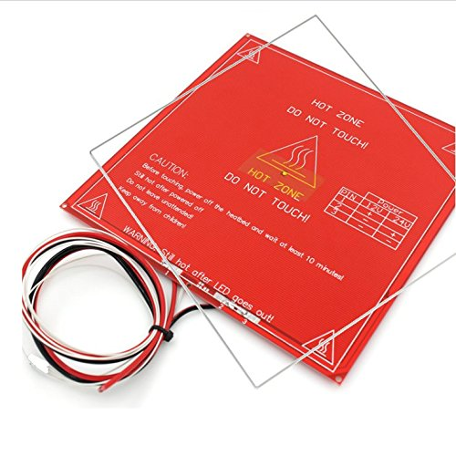 MK2B Heated Bed with Soldered NTC 3950 Thermistor and Borosilicate Glass Sheet- 3D Printer PCB Heatbed for MakerBot RepRap UP Mendel I3 Printer