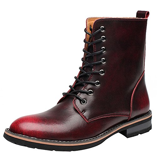 Jamron Mens Stylish Pointed-Toe Low Chunky Heel Lace up Chukka Boots Warm Lining Winter Ankle Boots Burgundy-fur RSEvzjumB