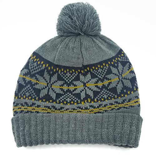 accsa Men Jaquard Snow Flake Pattern Rib Knit Pom Beanie Gray Valentines Gifts