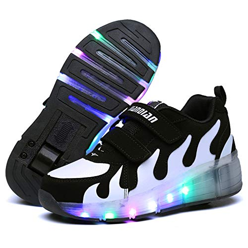 YUHJ LED Colorful Lights Skates Shoes Single Wheel Pulley Shoes for Boys and Girls