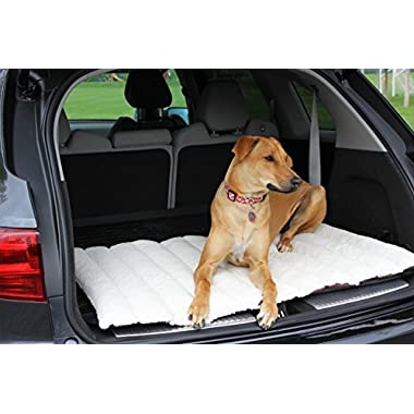 IMK9 Roll Up Dog Travel Bed, 42 by 28 Inch, Cream. A Portable Mat That is Easy to Roll Up for Outdoor or Indoor Use. Top Cover Keeps Pet Cool and Bottom is Waterproof. Ideal for Small or Big Dogs