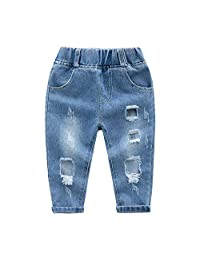 Kidscool Space Little Girls Boys Ripped Holes Hollow Out Jeans