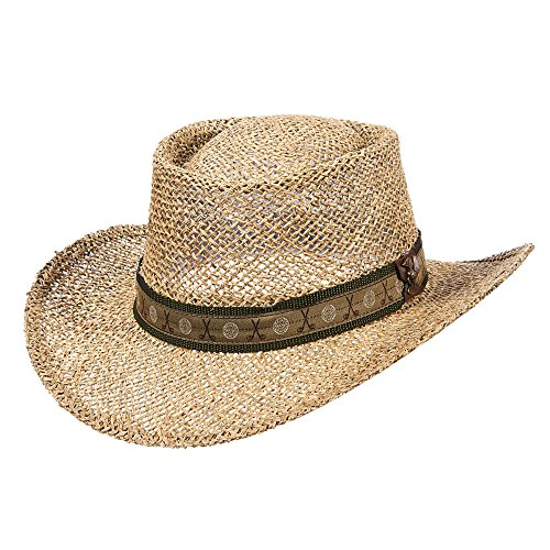en's Twisted Seagrass Gambler Hat with Golf Hatband (Twisted Seagrass Straw Hat)