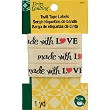 Dritz Quilting Twill Tape Labels, 36-Inch, Made with Love
