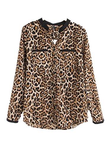 Women Stripes Long Sleeve V-Neck Bottons Slim Casual Dress XL - - 5