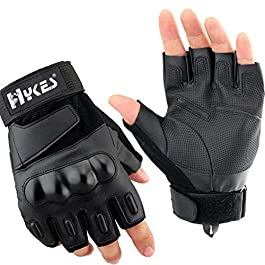 Hykes Half Finger Bike Gloves Racing Motorcycle Riding Tactical Outdoor for Men & Women (Black, Extra-Large)