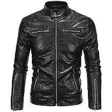 Biker Jacket Leather,Mens Causal Slim Pu Leather Biker Zipper Jacket Coat Faux Leather Motorcycle Jacket