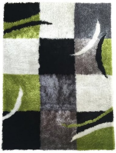 Green white Gray Black 5-footx7-foot square medium pile shag polyester handmade-rugs Art Deco geometric-pattern