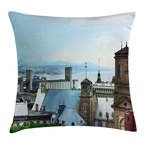 K0k2t0 Landscape Throw Pillow Cushion Cover by, Old Quebec City Skyline Tin Rooftops Churches St. Lawrence River Landmark, Decorative Square Accent Pillow Case, 18 X 18 Inches, Blue Brown Grey ()