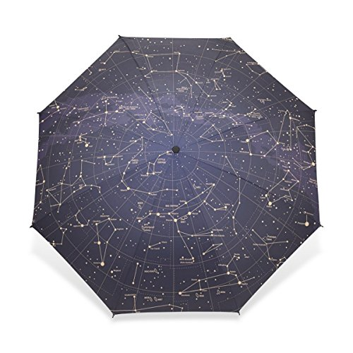 HMWR 12 Constellation Universe Galaxy Space Stars Folding Travel Rain Umbrella Manual Open and Close Umbrella Reinforced Windproof Frame and Slip-Proof Handle Enough for the Fierce Wind and Heavy Rain ()