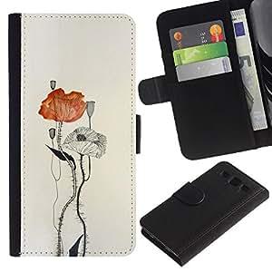KingStore / Leather Etui en cuir / Samsung Galaxy S3 III I9300 / Watercolor Paper Art