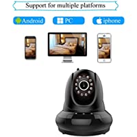 Agazer Wireless IP Video 720P HD Camera WiFi Home Surveillance Security Monitor, Pan-Tilt Remote Motion Detection Monitoring for Baby/Nanny/Pet, Night Vision 2 Way Audio Mobile View (FI-366, Black)