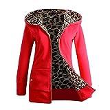 Anxinke Women's Warm Long Sleeve Full Zip Up Slim Fit Thick Jackets Outerwear Plus Velvet Hooded Coat (Red, M)
