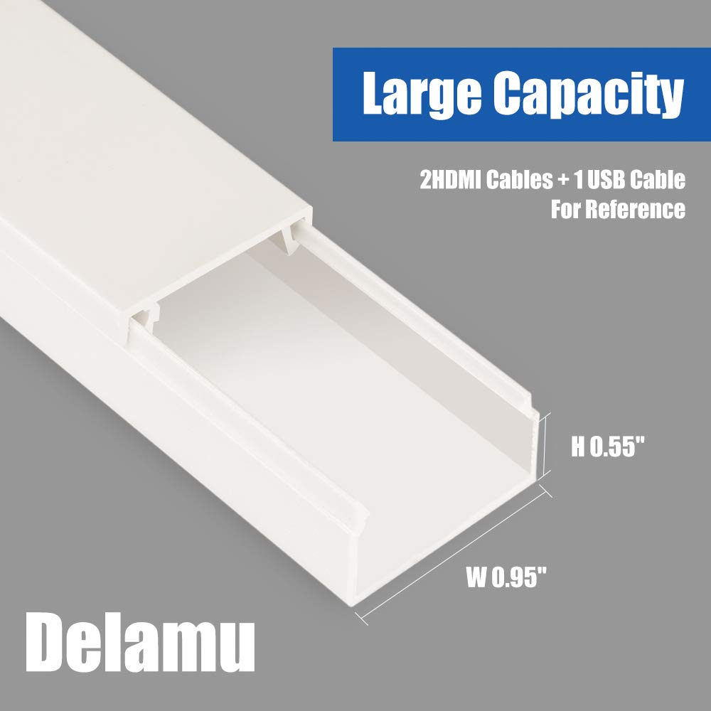 314'' Cable Management Channel, PVC Cord Covers Raceway Kit, Paintable Cord Concealer System Covers Cables, Cord Wires, Hiding Wall Mount TV Power Cords in Home Office, 20X L15.7in X W0.95in X H0.55in by Delamu (Image #2)