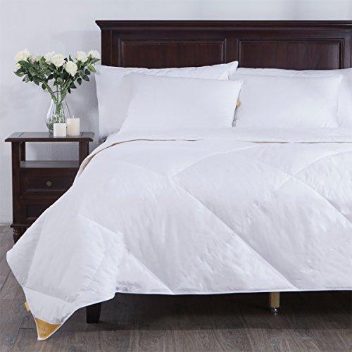 PUREDOWN  Lightweight Comforter, Goose Down, Quilted Duvet Insert, 100% Cotton Fabric, White, Full/Queen