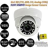 101AV 1080P True Full-HD Security Dome Camera 2.8-12mm Variable Focus Lens SONY 2.4Megapixel STARVIS Image Sensor IR In/Outdoor OSD UTC works w/ 1080P TVI 1080P AHD 1080P CVI & standard recorder only