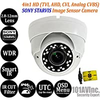 101AV 1080P True Full-HD Security Dome Camera 2.8-12mm Variable Focus Lens SONY 2.4Megapixel STARVIS Image Sensor IR In/Outdoor OSD UTC works w/ 1080P TVI 1080P AHD 1080P CVI & standard recorder only