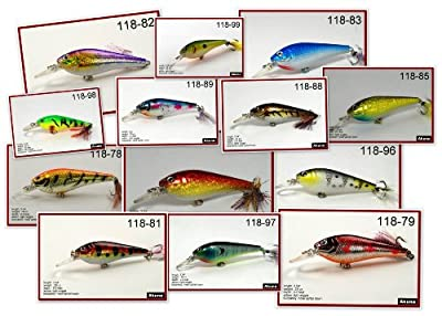 118 Lot Of 13 35 Hand Painted Holographic Bass Pike Trout Fishing Lure Bait from Akuna