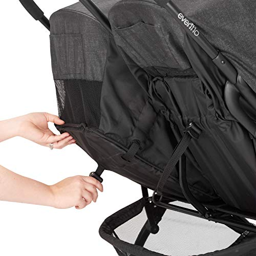 511bhqKcWCL - Evenflo Aero2 Ultra-Lightweight Double Strollers, Compact, Self-Standing Folding Design, Shopping Basket Single-Child Mode, Seatback Storage Pocket, 2 Mesh In-Seat Pockets, 50-lb Per Seat, Osprey Gray