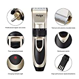 Haige Pet Dog Pet Clippers,Rechargeable Cordless Grooming Electric Clipper Kit Set with Low Noise and Safety Blade Design for Cats and Dogs (Gold+Black)