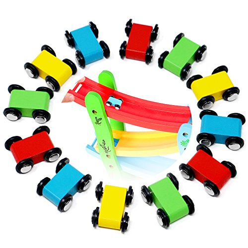 Lewo 12 Pack Mini Wooden Race Replacement Cars for Ramp Toy Toddlers Race Car Racer Set (Cars Set Race Wooden)
