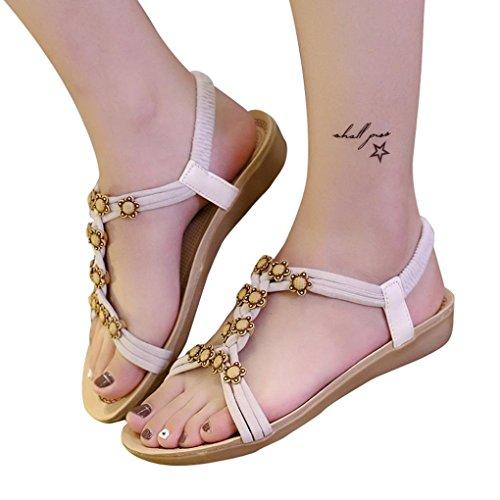 Kolylong Women Casual Slipper Beaded Flowers Bohemian Sandals Beach Shoes Flat Shoes Beige