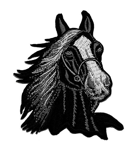 Black Horse Racehorse DIY Applique Embroidered Sew Iron on Patch HOR-001