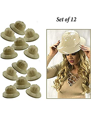 d347d47c8b2 Adorox 12Pc Khaki Beige Soft Plastic Tan Childs Jungle Safari Pith Sun Hat  Costume Birthday Party
