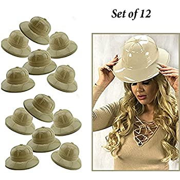 070e378c10fd8 Adorox 12Pc Khaki Beige Soft Plastic Tan Childs Jungle Safari Pith Sun Hat  Costume Birthday Party Favor Kids Halloween Toy