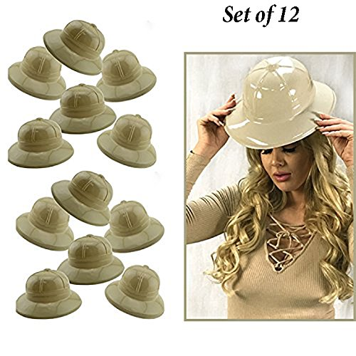 Adorox 12Pc Khaki Beige Soft Plastic Tan Childs Jungle Safari Pith Sun Hat Costume Birthday Party Favor Kids Halloween Toy]()