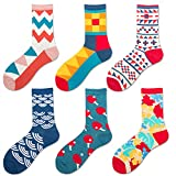 Susupeng Women Men 6 Pairs Classics Personality British Style Plaid CoupleColorful Pattern Casual Cotton Crew Socks (British Style)