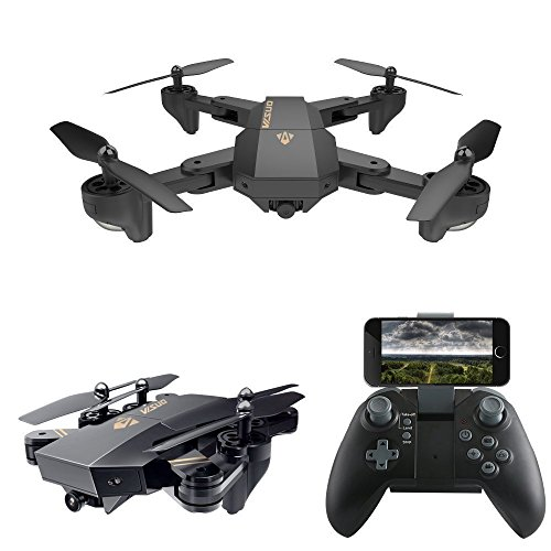 Fineser VISUO XS809HW Drone RC Quadcopter Foldable Mini RTF 360 Degree Flips & Rolls 6-Axis Gyro 4CH 2.4Ghz Remote Control Helicopter Height Hold Steady Easy Fly for Training by Fineser