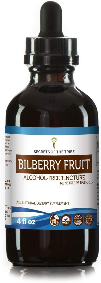 Bilberry Fruit Alcohol-Free Liquid Extract, Organic Bilberry Vaccinium Myrtillus Dried Fruit Tincture Supplement 4 FL OZ