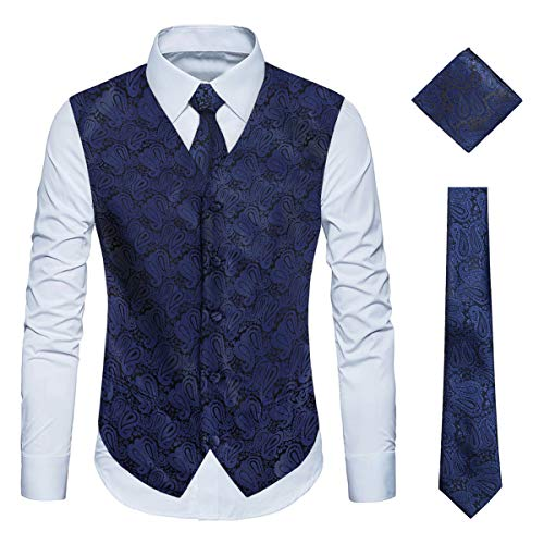 (WULFUL Men's 3pc Paisley Vest Necktie Pocket Square Set for Suit or Tuxedo Navy)