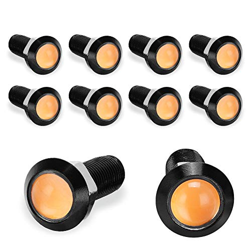 YITAMOTOR Eagle Eye Led, 10PCS 18mm Ultra Thin Waterproof Aluminum Shell Motorcycle Lighting Kit Daytime Running Light DRL Tail Backup DIY Lamps (Amber- Black)