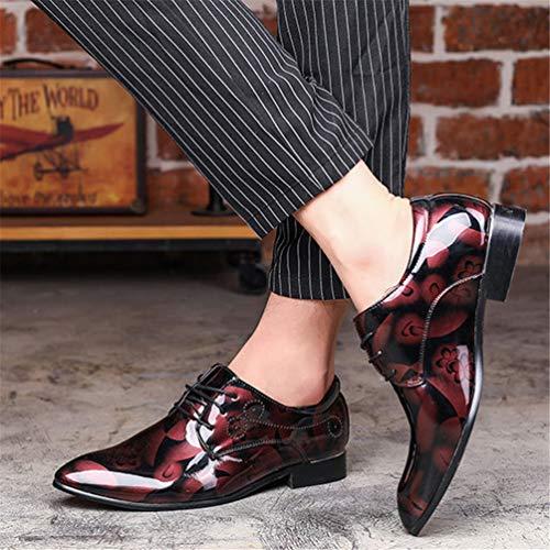 Qianliuk Scarpe Pizzo Rosso Uomo Appartamenti Turno Vestito In Moda Sposa Business up Pelle xrxqvHw