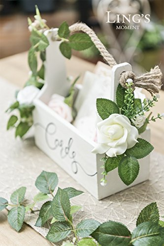 Ling's moment Rustic Wooden Card Box DIY Floral Basket Shape for Wedding, Bridal Shower, Baby Shower, Graduation Party by Ling's moment (Image #3)
