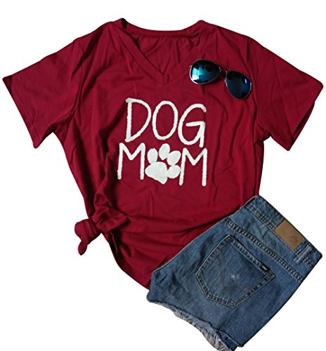 Women Mom Dog T-Shirt Short Sleeve Cute Funny Letter Print Shirt Top Size M (Red)