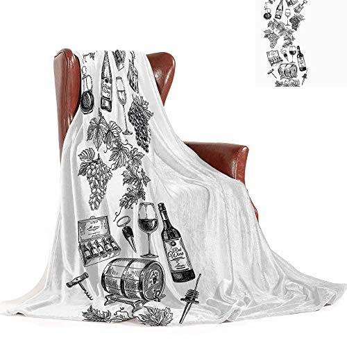 Cheap SATVSHOP Weighted blanket-70 x50-Warm Microfiber All Season Comfortable Flannel blanke.Sketchy Vintage Illustration of Hand Drawn GRAP Wine Bottle Wineglass and Cask Black and White. Black Friday & Cyber Monday 2019