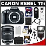 Canon EOS Rebel T5i Digital SLR Camera Body with EF-S 18-200mm IS Lens + 64GB Card + Battery + Case + Flash + Tripod + Accessory Kit, Best Gadgets